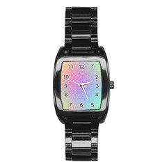 Rainbow Colorful Grid Stainless Steel Barrel Watch by designworld65