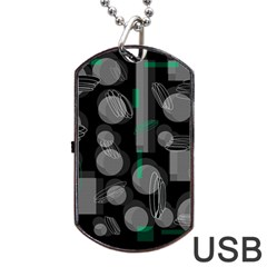 Come Down   Green Dog Tag Usb Flash (one Side) by Valentinaart