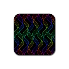 Rainbow Helix Black Rubber Coaster (square)  by designworld65