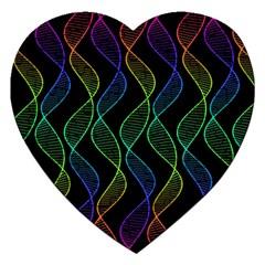Rainbow Helix Black Jigsaw Puzzle (heart) by designworld65