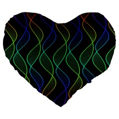 Rainbow Helix Black Large 19  Premium Heart Shape Cushions by designworld65