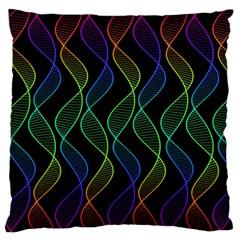 Rainbow Helix Black Large Flano Cushion Case (one Side) by designworld65