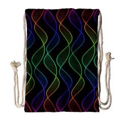 Rainbow Helix Black Drawstring Bag (large) by designworld65