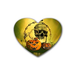 Halloween, Funny Pumpkins And Skull With Spider Rubber Coaster (heart)  by FantasyWorld7