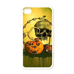 Halloween, Funny Pumpkins And Skull With Spider Apple Iphone 4 Case (white) by FantasyWorld7