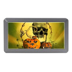 Halloween, Funny Pumpkins And Skull With Spider Memory Card Reader (mini) by FantasyWorld7