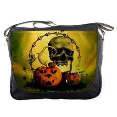 Halloween, Funny Pumpkins And Skull With Spider Messenger Bags by FantasyWorld7