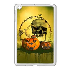Halloween, Funny Pumpkins And Skull With Spider Apple Ipad Mini Case (white) by FantasyWorld7