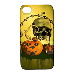 Halloween, Funny Pumpkins And Skull With Spider Apple Iphone 4/4s Hardshell Case With Stand by FantasyWorld7