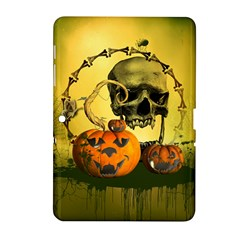 Halloween, Funny Pumpkins And Skull With Spider Samsung Galaxy Tab 2 (10 1 ) P5100 Hardshell Case  by FantasyWorld7
