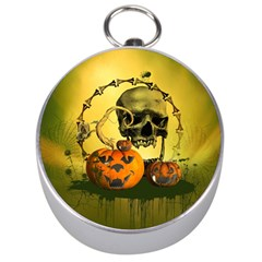 Halloween, Funny Pumpkins And Skull With Spider Silver Compasses by FantasyWorld7