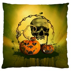 Halloween, Funny Pumpkins And Skull With Spider Large Flano Cushion Case (two Sides) by FantasyWorld7
