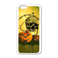 Halloween, Funny Pumpkins And Skull With Spider Apple Iphone 6/6s White Enamel Case by FantasyWorld7