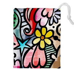 Abstract Doodle Drawstring Pouches (XXL) by AnjaniArt