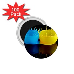 Bicolor Paintink Drop Splash Reflection Blue Yellow Black 1 75  Magnets (100 Pack)  by AnjaniArt