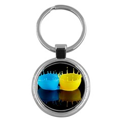 Bicolor Paintink Drop Splash Reflection Blue Yellow Black Key Chains (round)  by AnjaniArt