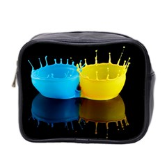 Bicolor Paintink Drop Splash Reflection Blue Yellow Black Mini Toiletries Bag 2 Side by AnjaniArt