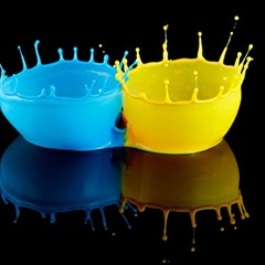 Bicolor Paintink Drop Splash Reflection Blue Yellow Black Magic Photo Cubes by AnjaniArt
