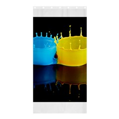 Bicolor Paintink Drop Splash Reflection Blue Yellow Black Shower Curtain 36  X 72  (stall)  by AnjaniArt