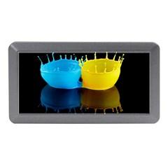 Bicolor Paintink Drop Splash Reflection Blue Yellow Black Memory Card Reader (mini) by AnjaniArt