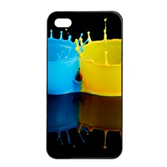 Bicolor Paintink Drop Splash Reflection Blue Yellow Black Apple Iphone 4/4s Seamless Case (black) by AnjaniArt