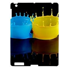 Bicolor Paintink Drop Splash Reflection Blue Yellow Black Apple Ipad 3/4 Hardshell Case by AnjaniArt