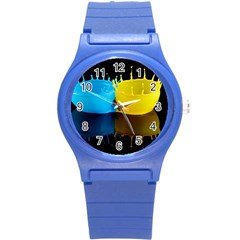 Bicolor Paintink Drop Splash Reflection Blue Yellow Black Round Plastic Sport Watch (s) by AnjaniArt