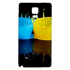 Bicolor Paintink Drop Splash Reflection Blue Yellow Black Galaxy Note 4 Back Case by AnjaniArt