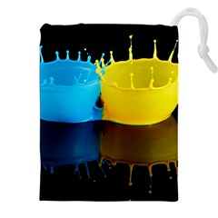 Bicolor Paintink Drop Splash Reflection Blue Yellow Black Drawstring Pouches (xxl) by AnjaniArt