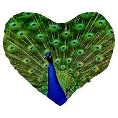 Bird Peacock Large 19  Premium Heart Shape Cushions by AnjaniArt