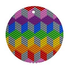 Block Pattern Kandi Pattern Ornament (round)  by AnjaniArt