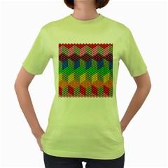 Block Pattern Kandi Pattern Women s Green T Shirt by AnjaniArt
