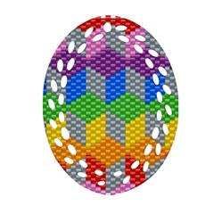 Block Pattern Kandi Pattern Oval Filigree Ornament (2 Side)  by AnjaniArt