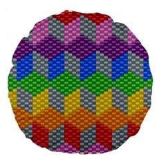 Block Pattern Kandi Pattern Large 18  Premium Flano Round Cushions by AnjaniArt