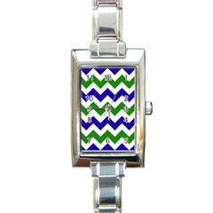 Blue And Green Chevron Pattern Rectangle Italian Charm Watch by AnjaniArt