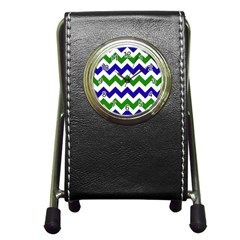 Blue And Green Chevron Pattern Pen Holder Desk Clocks by AnjaniArt