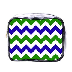 Blue And Green Chevron Pattern Mini Toiletries Bags by AnjaniArt