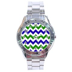 Blue And Green Chevron Pattern Stainless Steel Analogue Watch by AnjaniArt