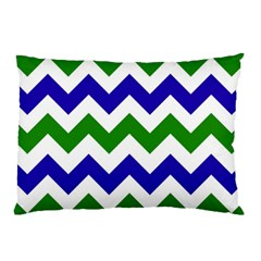 Blue And Green Chevron Pattern Pillow Case (two Sides) by AnjaniArt
