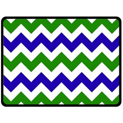 Blue And Green Chevron Pattern Double Sided Fleece Blanket (large)  by AnjaniArt