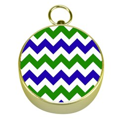 Blue And Green Chevron Pattern Gold Compasses by AnjaniArt