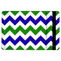 Blue And Green Chevron Pattern Ipad Air 2 Flip by AnjaniArt