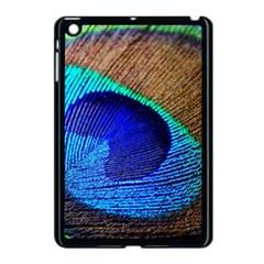 Blue Peacock Apple Ipad Mini Case (black) by AnjaniArt
