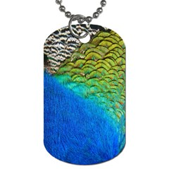 Blue Peacock Feathers Dog Tag (one Side) by AnjaniArt