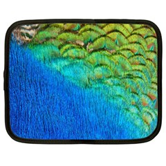 Blue Peacock Feathers Netbook Case (large) by AnjaniArt