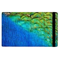 Blue Peacock Feathers Apple Ipad 3/4 Flip Case by AnjaniArt