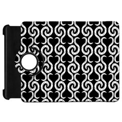 Black And White Pattern Kindle Fire Hd Flip 360 Case by Valentinaart