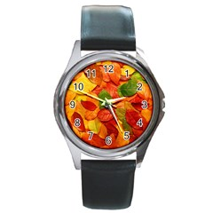 Colorful Fall Leaves Round Metal Watch by AnjaniArt