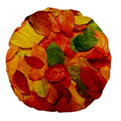 Colorful Fall Leaves Large 18  Premium Round Cushions by AnjaniArt