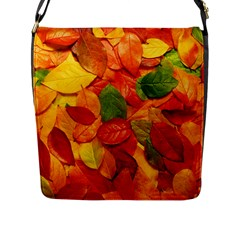 Colorful Fall Leaves Flap Messenger Bag (l)  by AnjaniArt